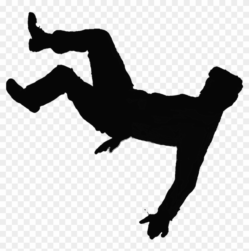 Clip Art Image Of Guy Slipping And Falling Clipart - Silhouette Of Falling Man #88391