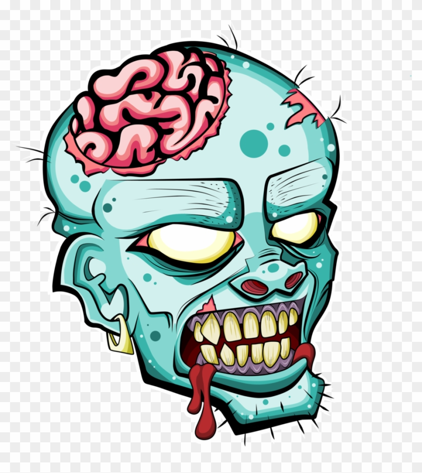 Zombie Head Free Clipart Please Credit By Deadly Voo - Zombie Head Drawing #88414