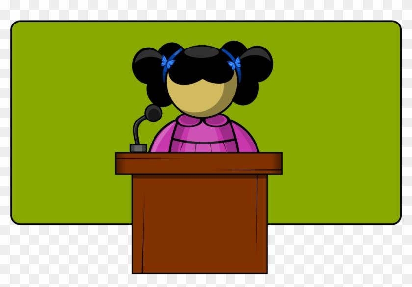 Free Girl Student Public Speaking Clip Art - Public Speaking Clip Art #88857