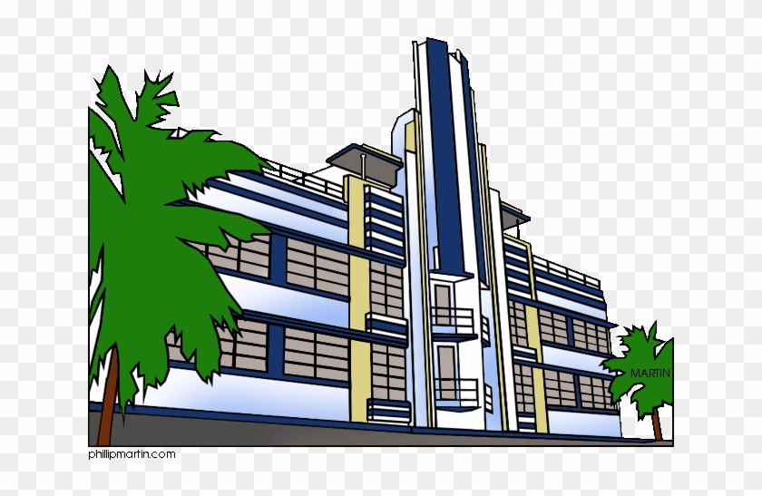 Famous Landmarks Of Florida Miami Art Deco - Art Deco Miami Clipart #89115
