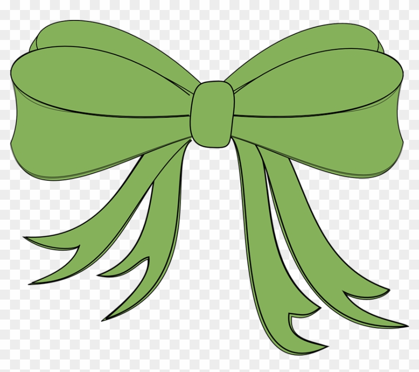 Ribbon Bow Gift Holiday Present Decoration Hair - Green Bow Clip Art #89149