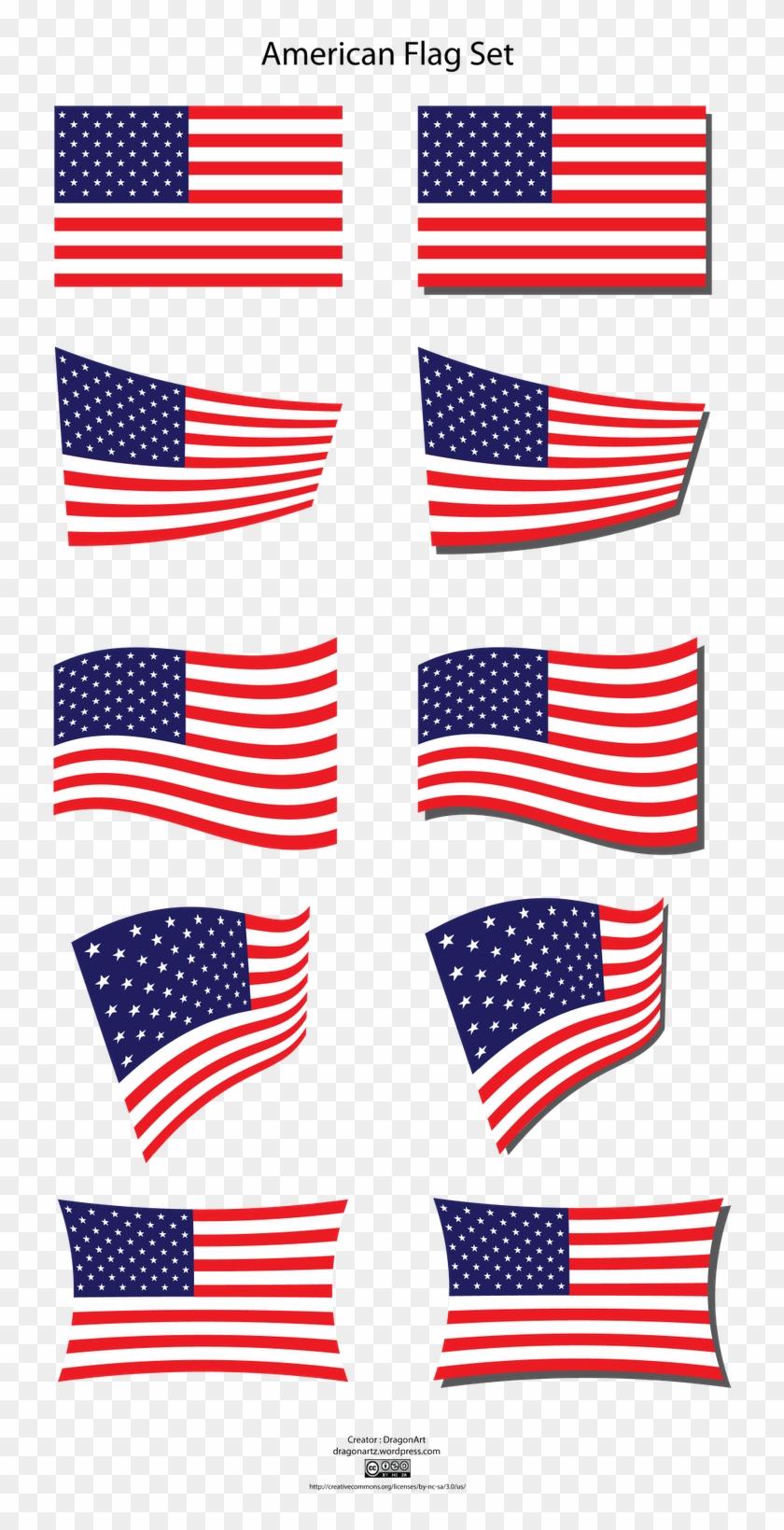 Crossed American Flags Clipart - American Flag #89180
