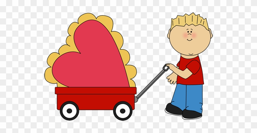 Boy Pulling Valentine In A Wagon - Mycutegraphics Valentines #89456