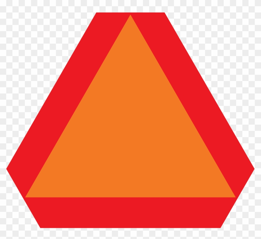 Slow Moving Vehicle - Red And Orange Triangle Road Sign #89579