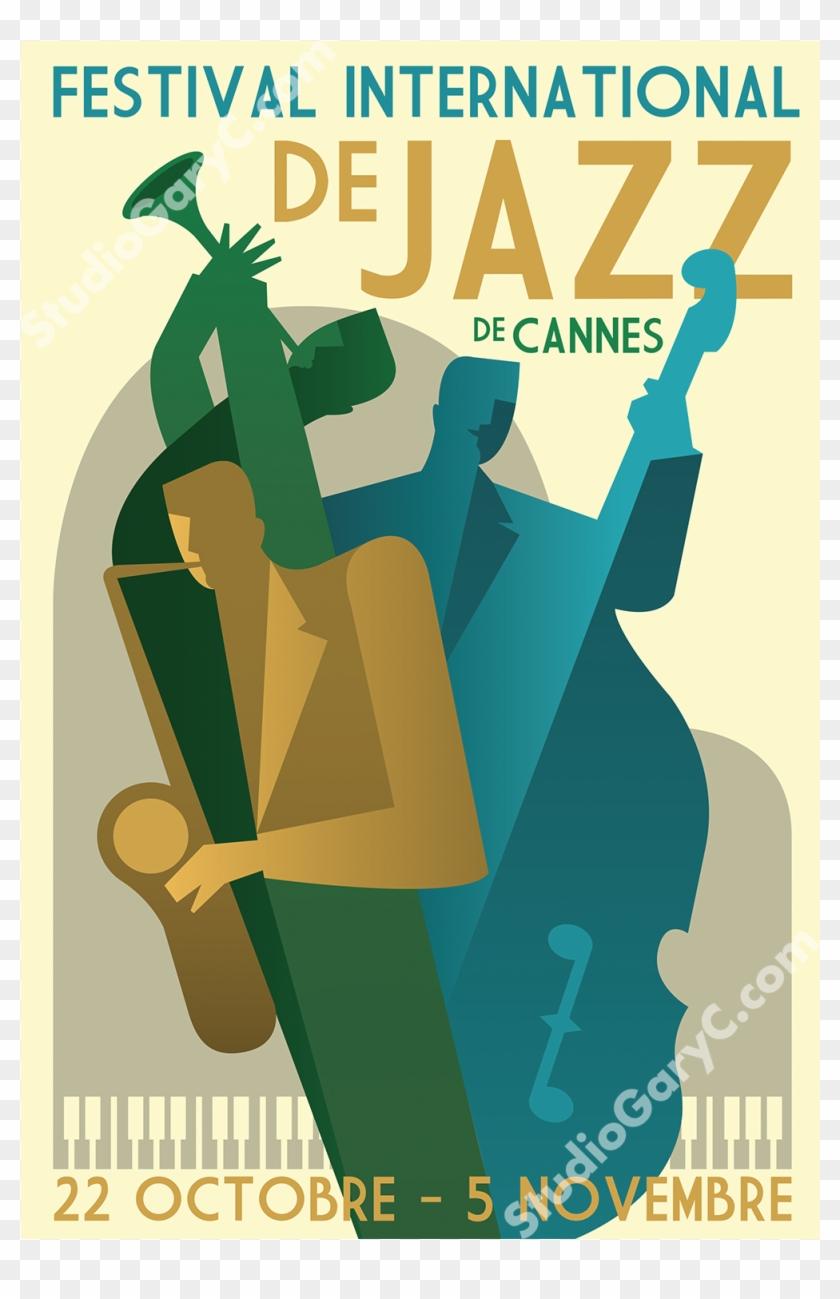 Art Deco 1930's Cannes Jazz Festival Poster - Art Deco 1930's Cannes Jazz Festival Poster #89681