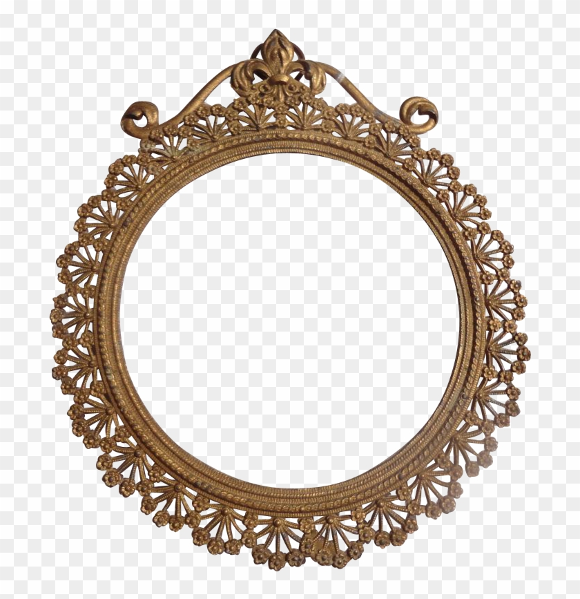 Lovely Art Nouveau French Gold Gilt Metal Frame From - Gold Circle Frames Png #89712