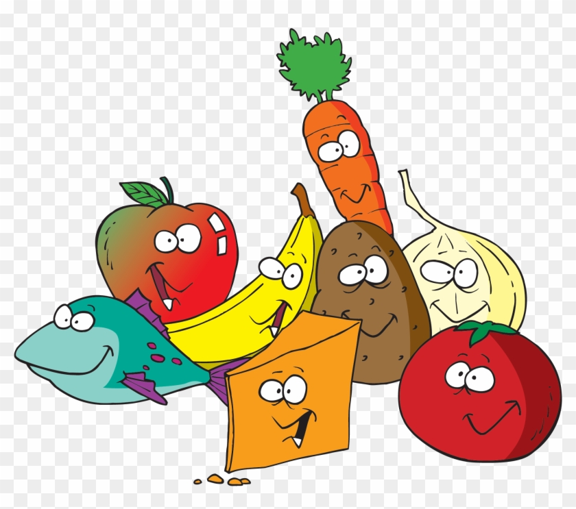 Cartoon Healthy Lunch Food Clipart - Fruit & Vegetables Clipart #89942
