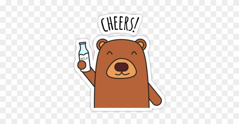 Cheers Bear Redbubble Sticker - Sticker Cartoon #90081