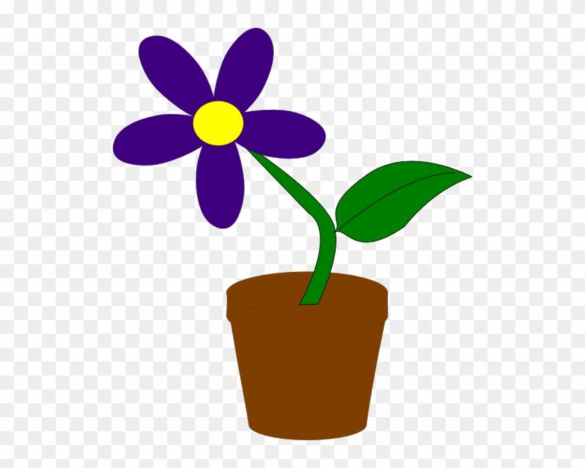 Purple Flower Clip Art - Flower In A Pot #90158