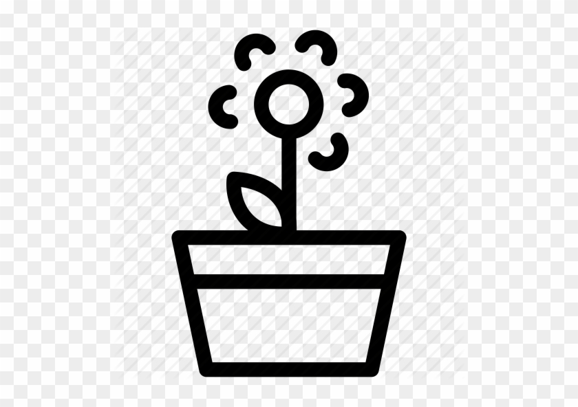 Flower Pot Outline - Garden Outline Icon Png #90312