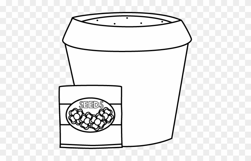 Black And White Flower Pot With Seeds Clip Art - Clip Art #90409