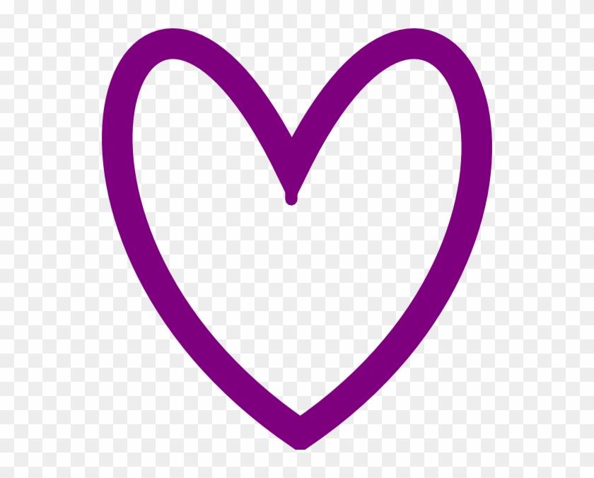 Purple Love Heart Outline #90585