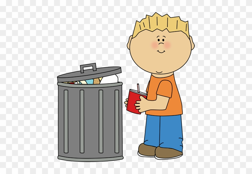 Earth Day Kid Clipart Of Trash, Picking And Throwing - Put The Trash In The Trash Can #90761