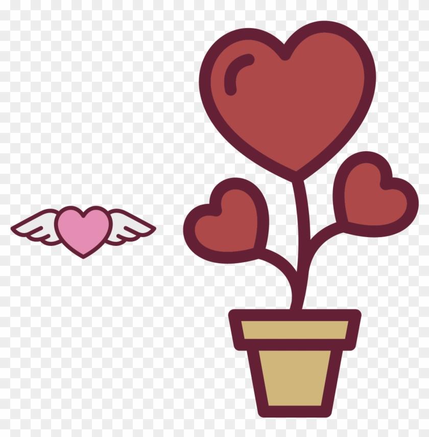 Heart Flower Icon - Vaso De Flor Coração Vetor #90931