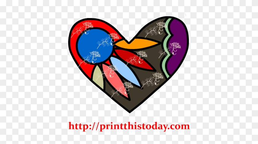 Colorful Floral Heart Clip Art - Heart #90951
