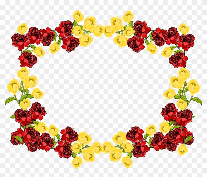 Flowers Border Png - Flower Frame Transparent Background #91091