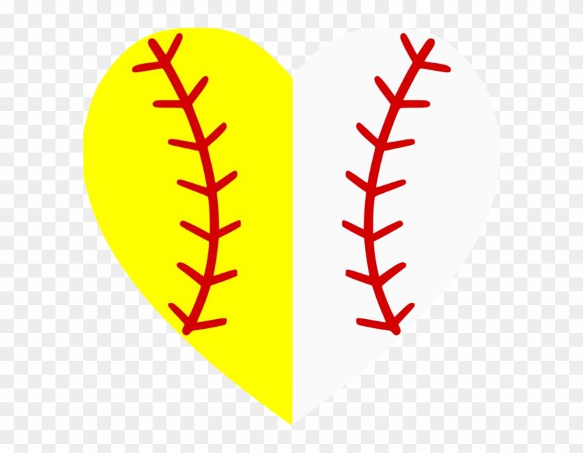 Softball-baseball Heart Divided - Baseball Softball Heart #91141