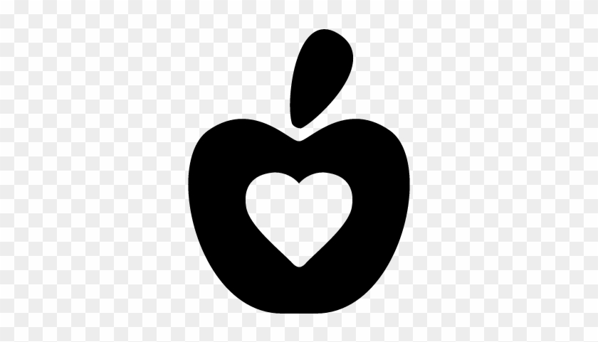 Healthy Food Symbol Of An Apple With A Heart Vector - Icono De Comida Saludable Png #91478