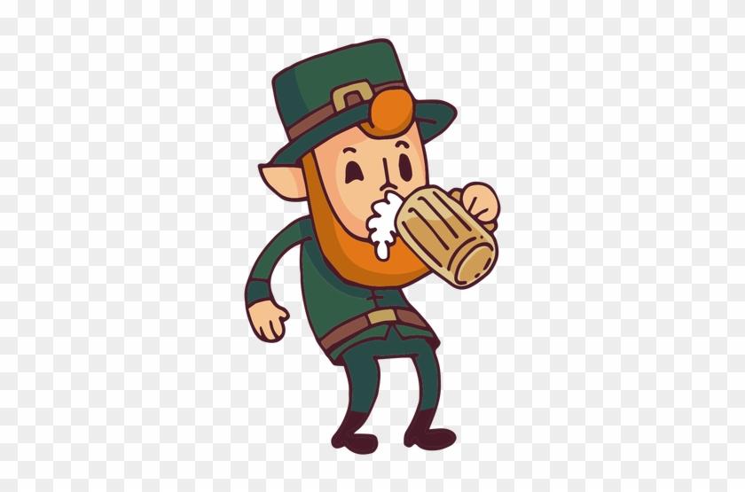 Leprechaun Drinking Beer Cartoon Transparent Png - Leprechaun Cartoon Flat #91579