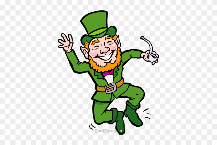 Patricks Day Vector Clipart Of A Leprechaun With Pipe - Pat281light Round Ornament #91590