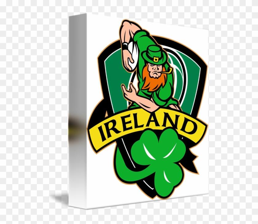 Rugby Ball Ireland Shield Shamrock Flask #91639