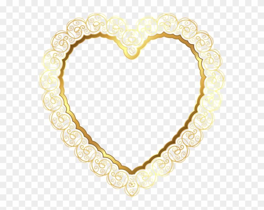 Heart Border - Gold Hearts Transparent Background #92058