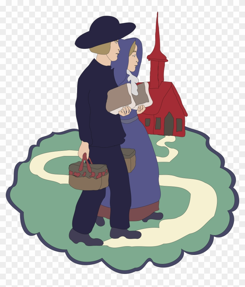 Free Clipart Of A Couple Of Children Near A School - Amish Clipart #92118