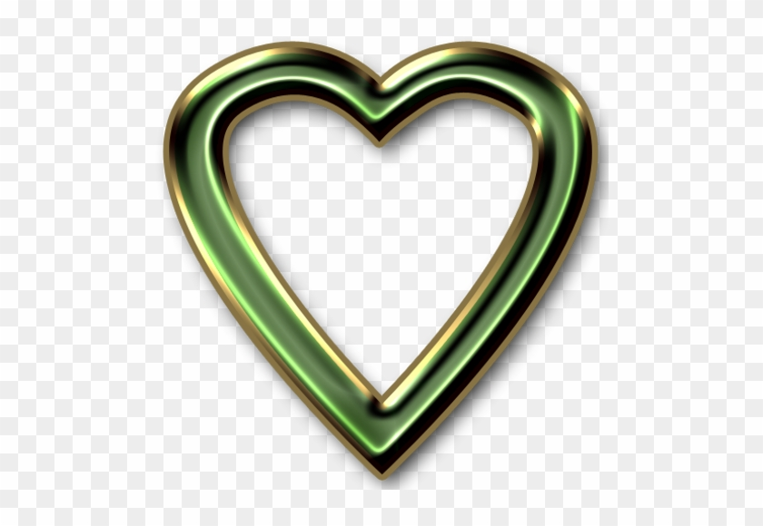 Green And Gold Heart Frame Png By Clipartcotttage - Heart Frame Transparent Png #92122