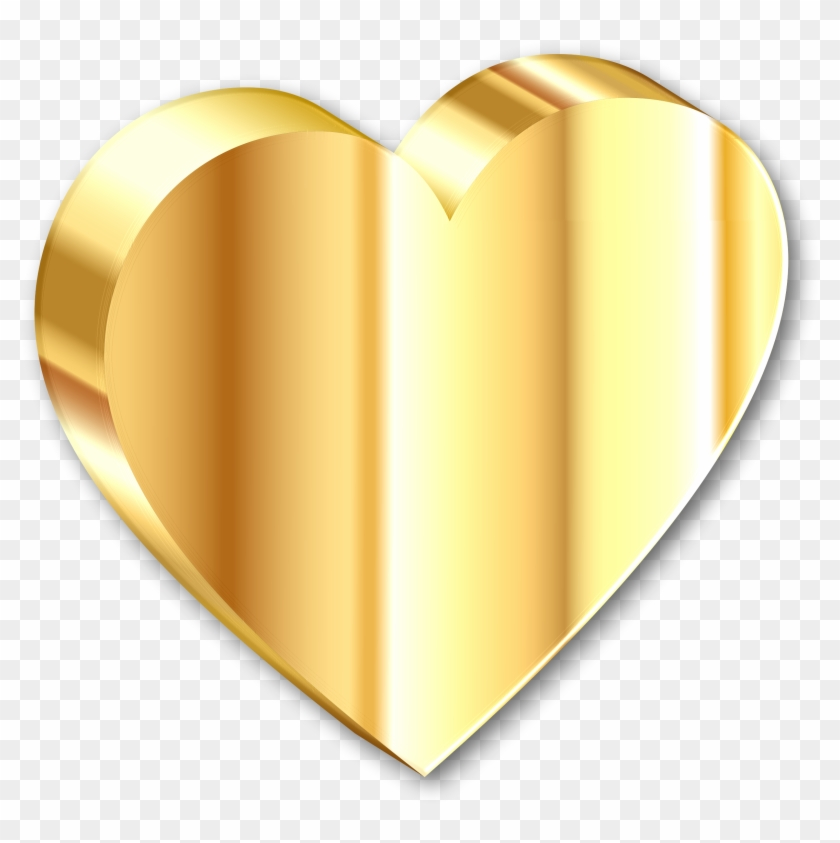 Heart Of Gold With Shadow - 3d Love Symbol Png #92144
