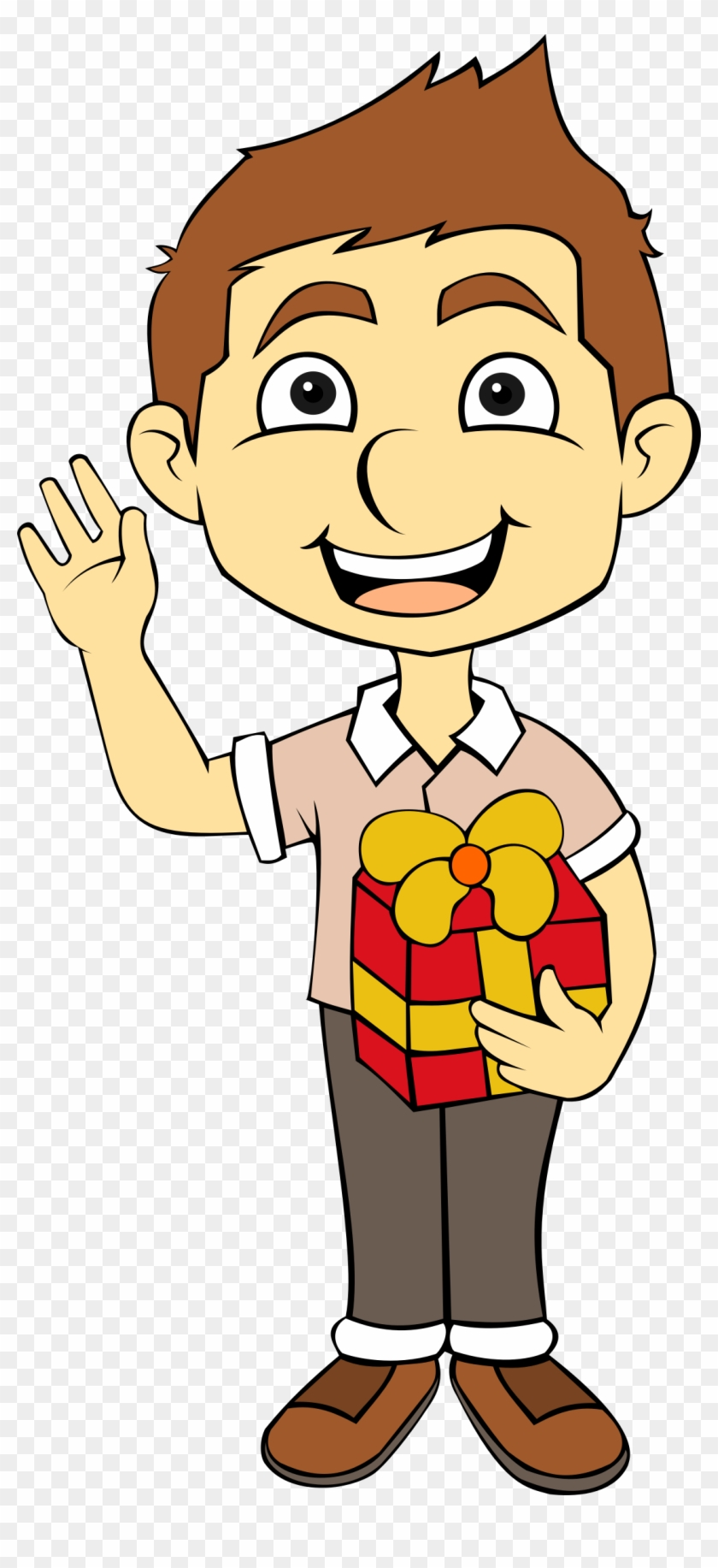 Big Image - Boy With Gift Clipart #92203