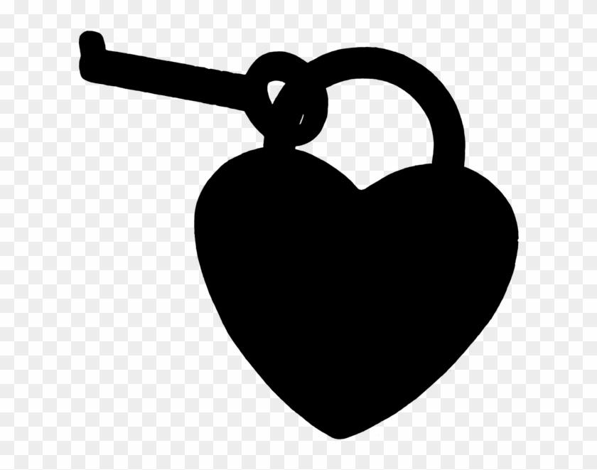 Key To The Heart Silhouette Black Love - หัวใจ สี ดำ Png #92374