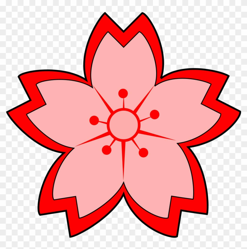 Red Flower Japanese Flower Clip Art Clipartfest - Sakura Clipart #92406
