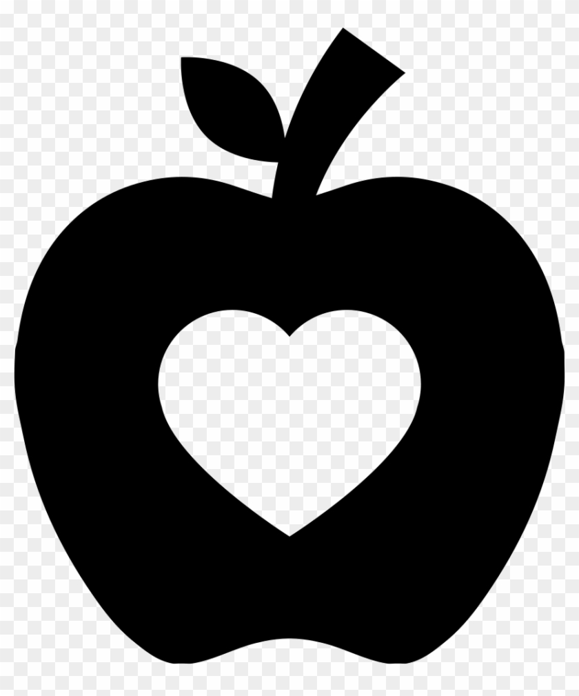 Apple Silhouette With Heart Shape Comments - Apple Silhouette #92455
