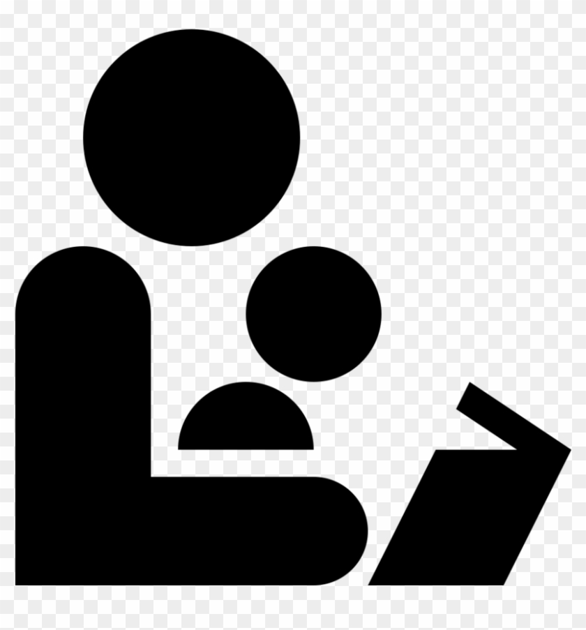 Black And White Icon Of An Adult Reading To A Child - Read Aloud Icon #92617