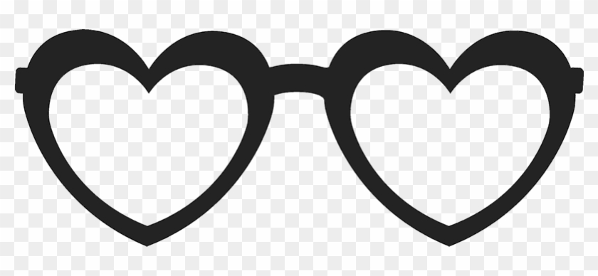 Heart-shaped Glasses Stamp - Heart Shaped Glasses Clipart Black And White #92782
