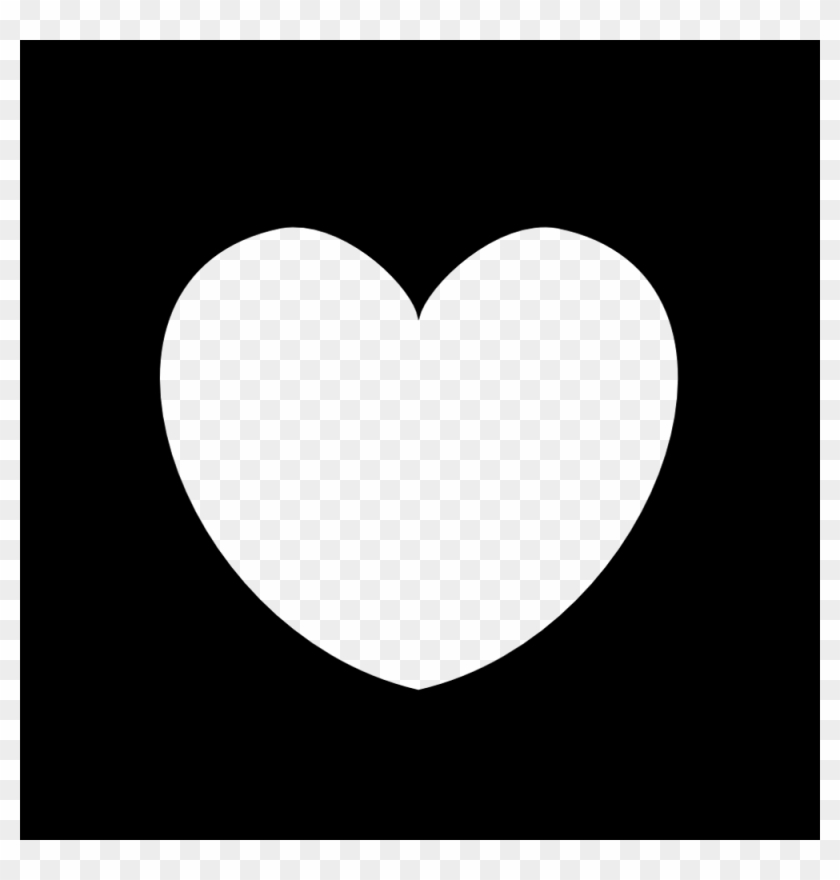 Plain Black Heart Frame - Heart Icon Vector White #92829