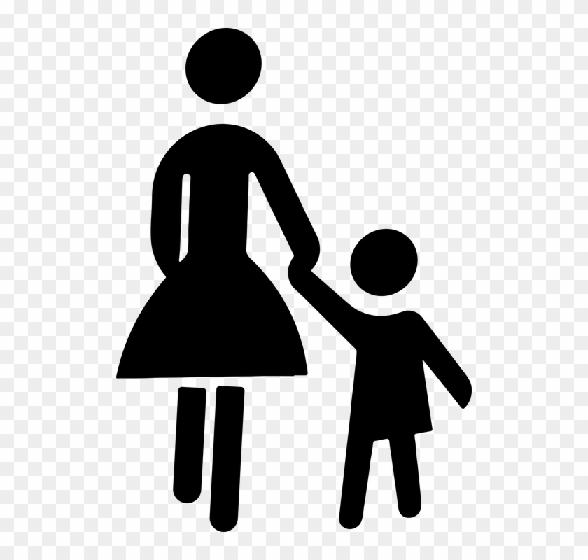 Child Female Holding Hands Kid Mom Mother - Child And Mother Clipart #93094