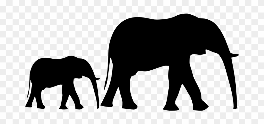 Elephant Animal Silhouette Mother Baby Fol - Baby Elephant Silhouette Png #93137