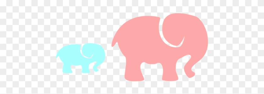 Pink Elephant Clip Art Grey Elephant Mom Baby Pink - Pink And Blue Baby #93152