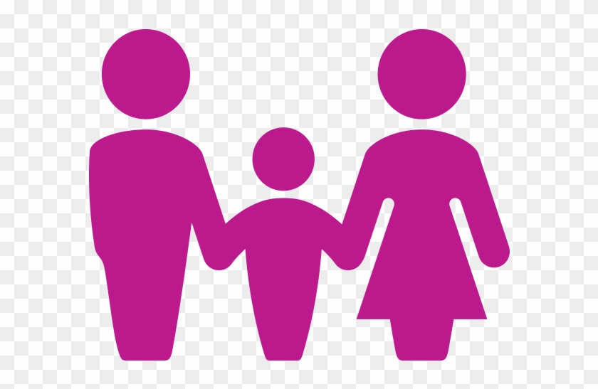 Mother, Father And Child - Pink Family Icon Png #93296