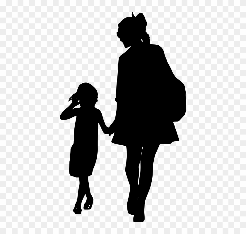 Silhouette, Mother, Daughter, Together, Walking, Family - Clip Art Silhouette Mother And Daughter #93301