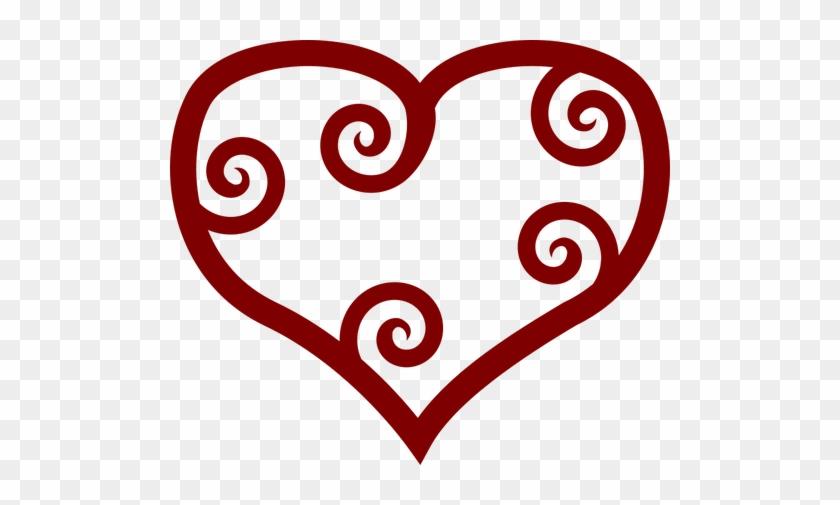 Valentine Red Maori Heart Vector Clip Art Public Domain - Valentine Clip Art #93420