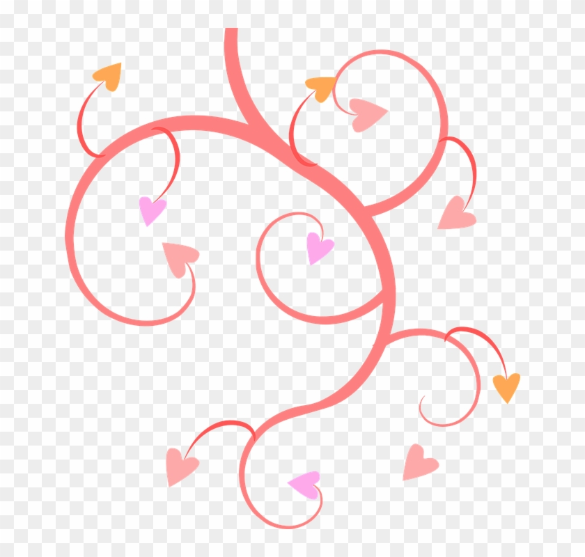 Pink Vines Hearts Shapes Patterns Designs Love - Hearts Clip Art Free #93841