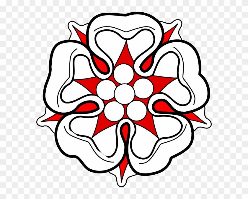 Red White Flower Heraldric Clip Art - Clip Art #94142