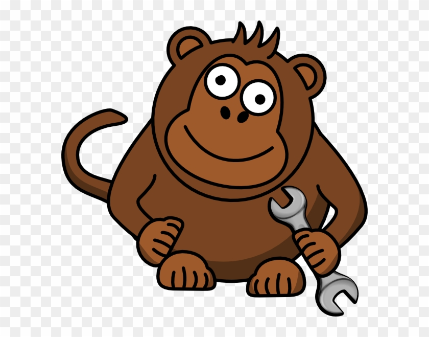 Monkey Wrench Clip Art At Clker - Monkey Face Shower Curtain #94295