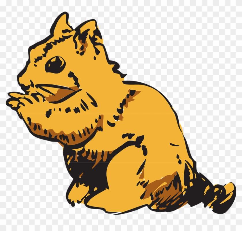 Fur Chipmunk, Art, Forest, Eating, Animal, Fur - Clip Art #94332
