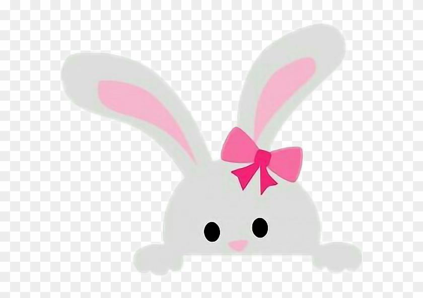 Bunny Peekaboo Cute Clipart Sweet Easter Pink Bow Kawaii Free