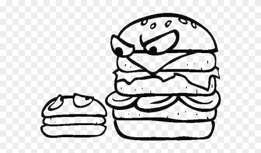 Big Burgers Is Mad To Little Burgers Junk Food Coloring Big And Small Coloring Sheet Free Transparent Png Clipart Images Download