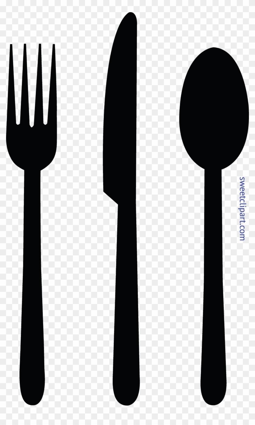 Fork Knife Spoon Black Clip Art - Fork Spoon Knife Clipart #502730