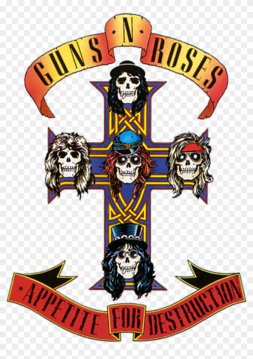 Vintage Guns & Roses Sticker Rock And Roll Band - Guns N Roses Appetite #503722